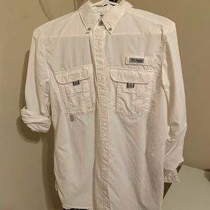 Columbia PFG vented button down shirt, S, white